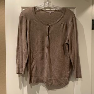 Oatmeal colored button front cardigan from Gap